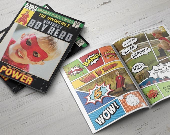 Super Hero Birthday Invitations, Super Hero Invitations, Superhero Invitation, Hero Invitation, Super Hero Party, Comic Invitation, Invite