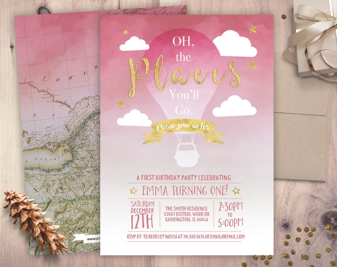 Travel, vintage, hot air balloon , birthday Invitation •  birthday Invitation • any age birthday, precious cargo