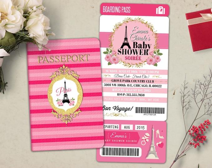 PASSPORT and TICKET baby shower invitation! Baby girl- wedding shower invitation- Paris, Eiffel tower, first birthday,Digital files only