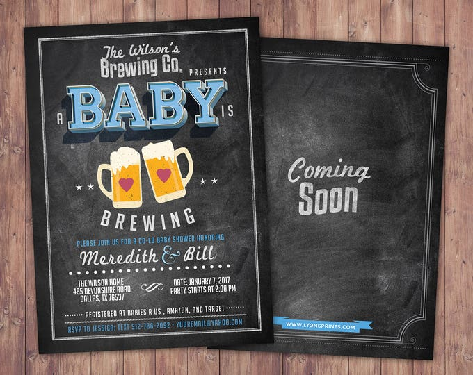 Coed baby shower invitation- Beer baby shower invitation- couples baby shower - girl baby shower - boy baby shower