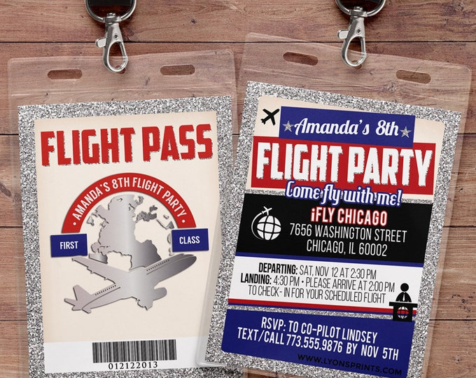 Flying, VIP Pass, flight pass, invitation, birthday invitation, travel birthday party travel party, flying party, airplane, vintage