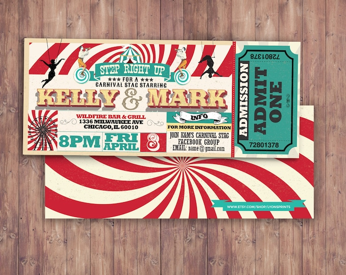 CIRCUS wedding, Invitation- Carnival invitation-wedding invitation- graduation party, school dance invitation,birthday, baby shower