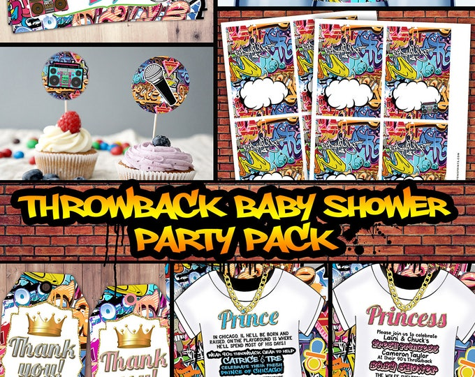 Fresh Prince, Baby Shower, Hip Hop, 90s throwback party, baby shower invitation, Graffiti, cupcake topper, food tent, diaper raffle, tags