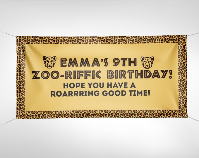 Zoo, Banner, , Zoo birthday, baby shower, Sign, birthday banner, animal print, animals, ,safari birthday, Animal print, Cheetah