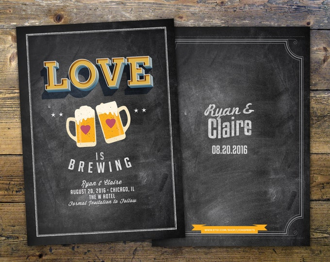 Save the date, Coed bridal shower invitation- Beer bridal shower invitation- couples bridal shower - bridal shower- Beer and BBQ,
