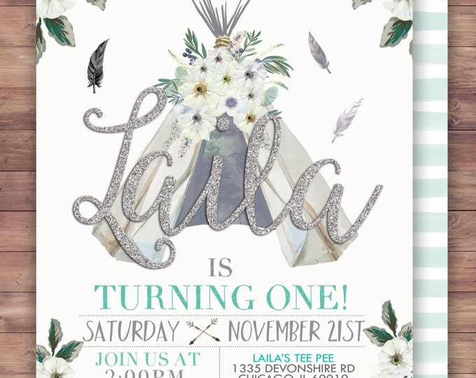 TEEPEE Birthday Invitation, BOHO birthday Invite, invitation, Teepee, arrow, pow wow, BOHO, Tribal, first birthday, 1st birthday, Gold