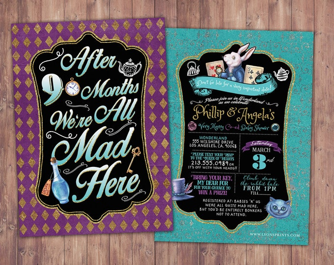 Mad Hatter Tea Party, Alice in Wonderland Invitation / First Birthday Invitation / Printable for Birthday or Wedding / coed  Baby Shower