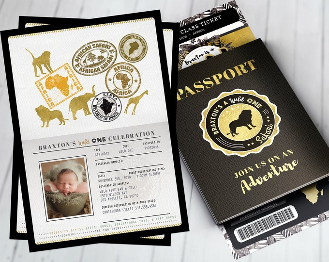 Passport invitation, Jungle Invitation, Jungle invite, Safari invitation, Safari Invite, Watercolors, Wild One, Elephant, Lion, Wild thing