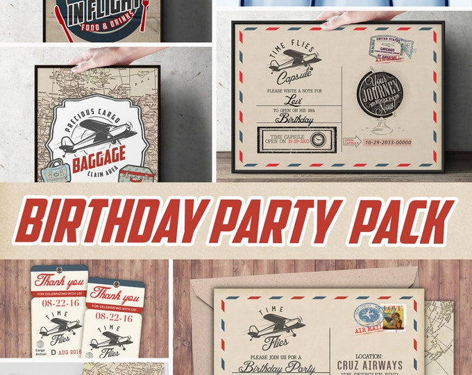 Time Flies party pack,  vintage airplane invitation, travel party, airplane birthday, favor tags, party signs, Digital files only
