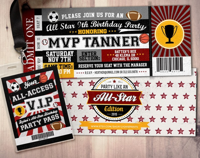 Vintage, All-Star Invitation //  Little Slugger Birthday //  BIRTHDAY invitation, boy birthday, sports birthday, ticket invitation