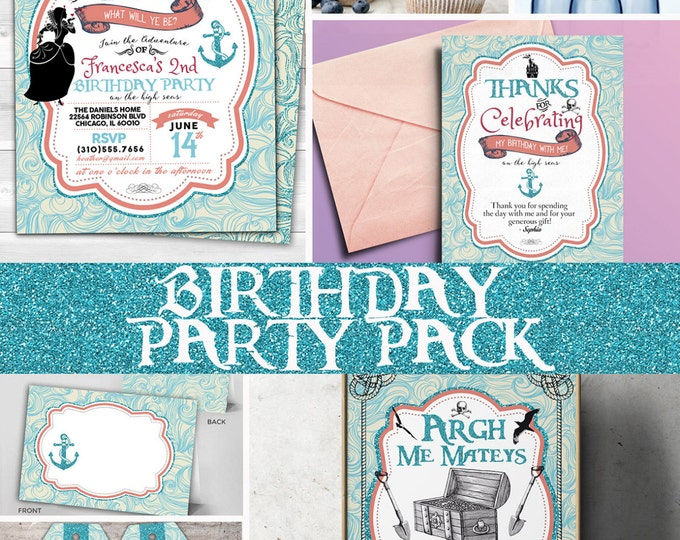 Princess and pirates Party Invitations, labels, tags, Pirate and Princess Birthday Invitation, Princess and Pirate invitation ,Twins birthda