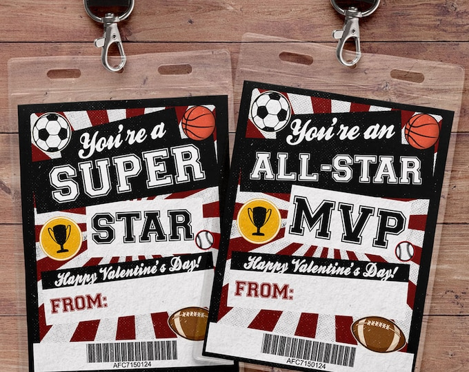 Valentine Cards for kids- Kids Valentine Cards- All star Valentine Cards- DIY PRINTABLE Valentine Cards- Valentine - sports valentine,