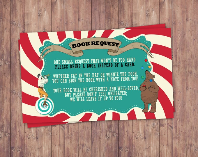 CIRCUS Baby Shower, book request, Invitation- Carnival baby shower invitation-Coed baby shower invitation-couples shower