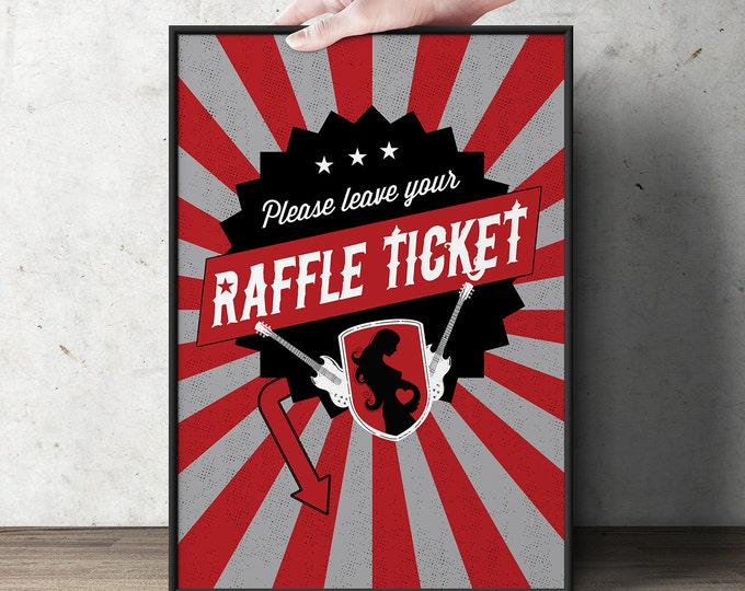 """Diaper Raffle Sign """"ROCKSTAR"""" (Printable File Only) Bring Diapers for Mom Raffle, baby shower, baby shower games, baby shower sign"""