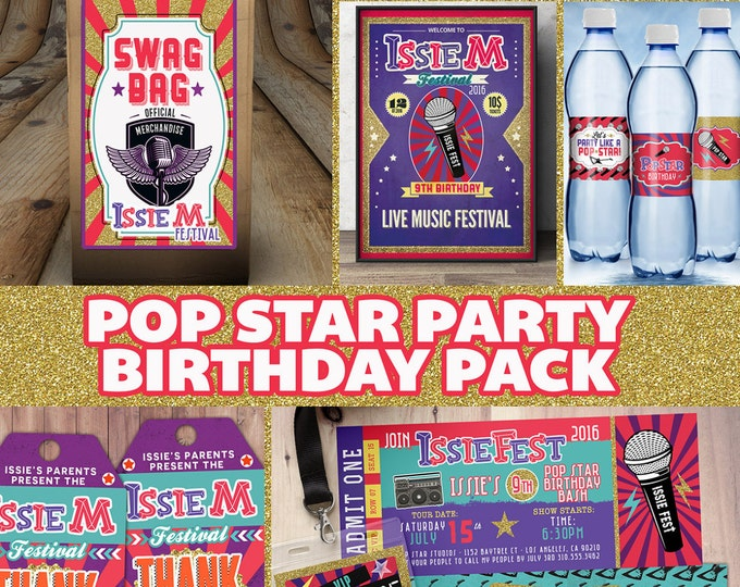 Party pack, party decorations,Birthday Party, rockstar invitation, thank you, party sign, party favor label, cupcake toppers, pop star