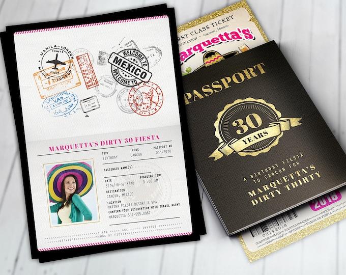Passport and ticket birthday invitation, travel birthday party invitation, cruise invitation, Mexico, Cancun Digital files only