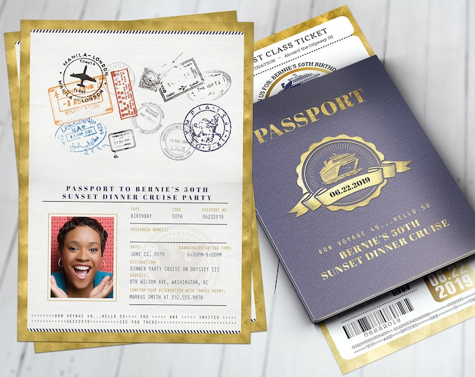 Rock the boat, Cruise dinner party, Birthday invitation , white party, passport, dinner cruise, invite, nautical, Digital files only