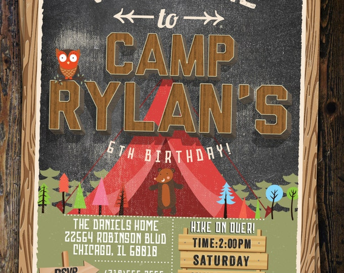 camp birthday, camping birthday, animals, invitation, invite, outdoor, adventure party, wilderness, lumberjack, boy scout, kids birthday