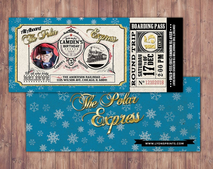 Polar Express BIRTHDAY Invitation, Printable Birthday Decorations, Polar Express invitation, Winter Wonderland, Vintage train, Christmas