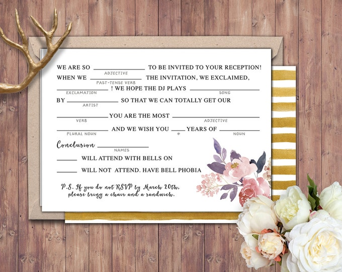 Happily ever after RSVP card, BOHO wedding shower, couples shower, arrows, Tribal, wedding, bridal shower printable, mad libs