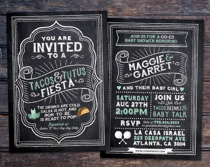 Tacos and Tutus, chalkboard couples co-ed Baby Shower BBQ invitation - babyq - baby is brewing, baby girl shower, fiesta, Mexican