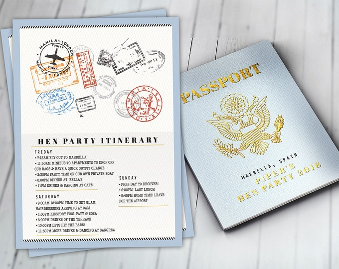 Menu, Itinerary, passport, precious cargo,, travel theme, travel party, Graduation, baby shower, birthday, wedding, Digital files only