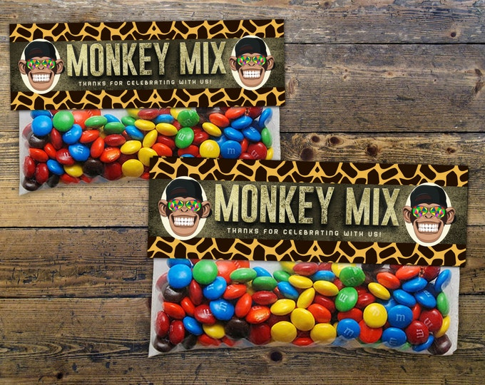 Safari Animals Treat Bag Toppers - monkey - Jungle Favor Toppers Instant, Sandwich Baggie Size, animal print, birthday favor, monkey mix