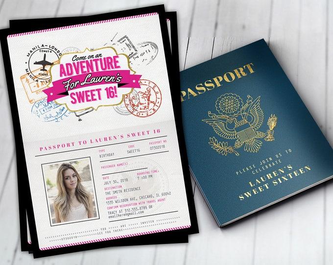 ANY AGE, Sweet 16, birthday invitation, travel invitation, destination, passport invitation, birthday invitation, travel theme,Digital files