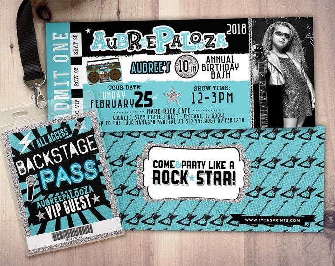 Rock Star-Concert ticket birthday invitation- birthday invitation- pop star birthday invitation-music birthday invitation
