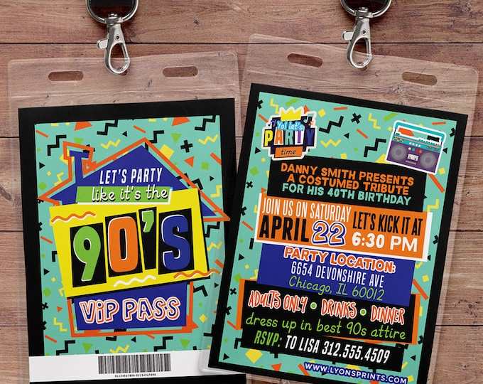 90's party, 80's party,Hip Hop,VIP PASS, backstage pass, Vip invitation, birthday invitation, lanyard, birthday, fresh prince, Digital files