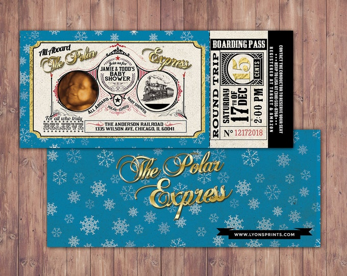 Polar Express BABY SHOWER Invitation, Printable shower Decorations, Polar Express invitation, Winter Wonderland, Vintage train, Christmas