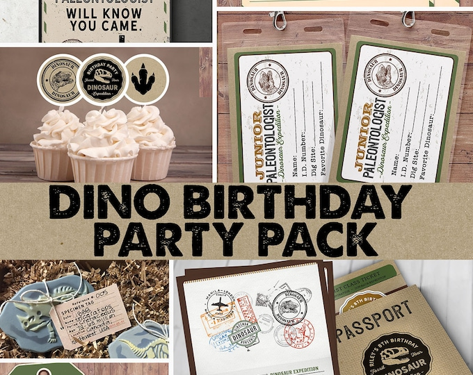 Dinosaur Dig Party party pack, Dinosaur Birthday Invitation, party signs, Dino Skeleton and Bones - Archaeologist, Fossil, passport invite