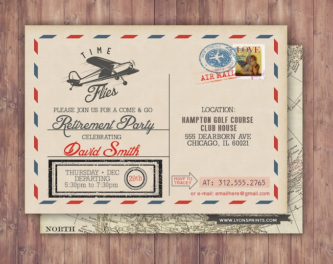 Time flies, Vintage Airplane, post card, retirement party, Birthday Invitation- Vintage / Rustic / Airplane / ticket invitation,