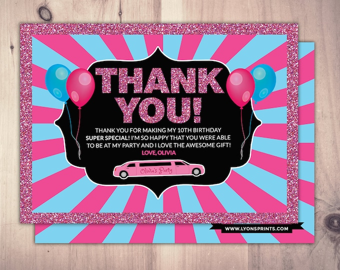 Thank you card, Limo pass, Birthday party,, cocktail party, birthday, wedding, bachelor, party bus, glitter