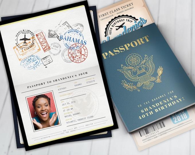 Passport and ticket birthday invitation, travel birthday party invitation,  cruise invitation, Bahamas, Digital files only