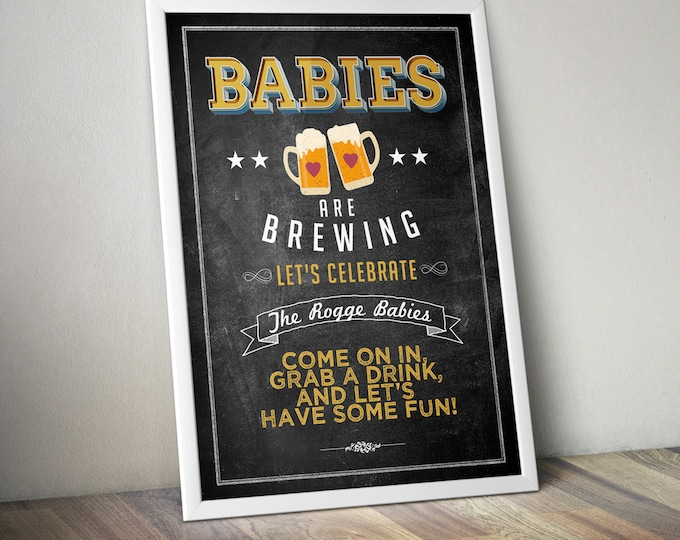 Welcome signl, rustic, BOHO, BabyQ chalkboard couples co-ed Baby Shower BBQ - babyQ  baby is brewing, (Printable File Only)