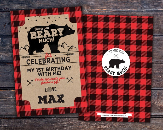 Lumberjack thank you card, Lumberjack birthday //  Buffalo Plaid Woodland  // Rustic //  Bear , camping, moose