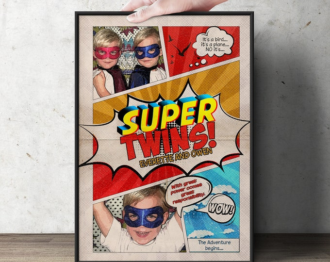 Custom comic poster, Twins birthday, super hero, comic birthday, gift, playroom, wall art, retro wall art, super hero invitation, poster