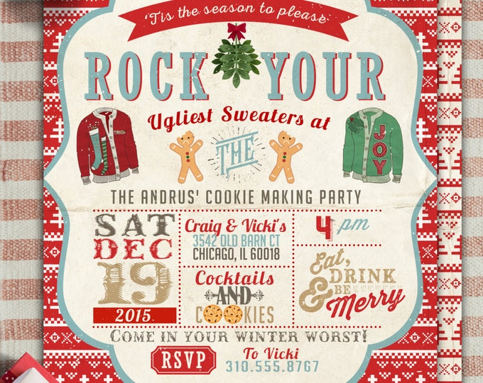 Cookie, Ugly sweater party, Christmas, Holiday party invitation, Christmas invitation, holidays, Christmas party, cookie exchange, invite,