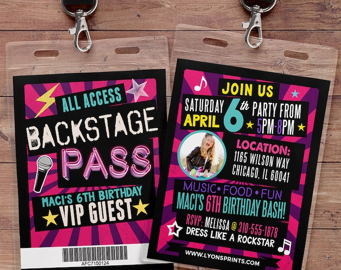 Retro, neon, VIP PASS, backstage pass, Vip invitation, birthday invitation, pop star, bridal shower invite,  lanyard, Rock Star birthday,