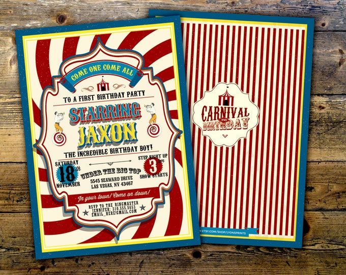 First Birthday- circus ticket-carnival ticket invitation - vintage circus, retro, ticket invitation, carnival, circus birthday invitation