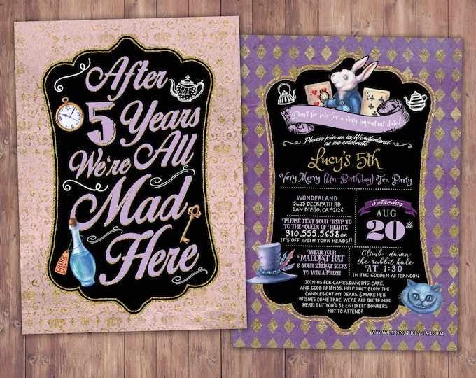 ANY AGE / Mad Hatter Tea Party, Alice in Wonderland Invitation /  Birthday Invitation /through the looking glass / Shower