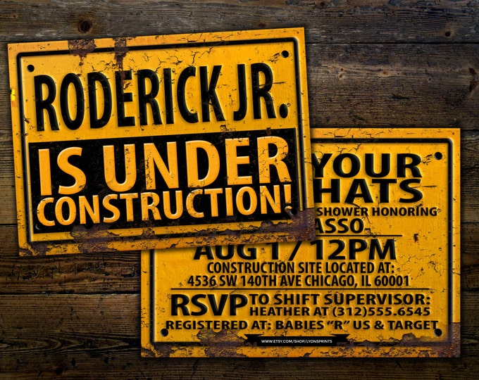 Under Construction Baby Shower invitation, Construction Invitation, Dump Truck, Tools Invitation, Baby Shower Party Package
