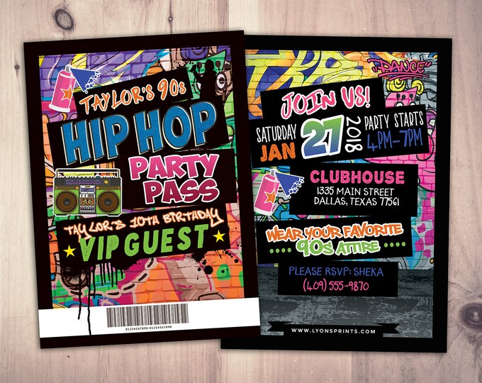 Hip Hop, Swagger, VIP PASS, backstage pass, Vip invitation, birthday invitation, pop star, lanyard, Fresh Prince, birthday,90s party, Neon