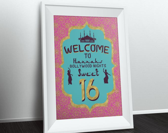 Welcome sign, Arabia, Morocco, Prom, Birthday, Poster, Sign, Bollywood- travel birthday, Moroccan birthday-ethnic, PROM