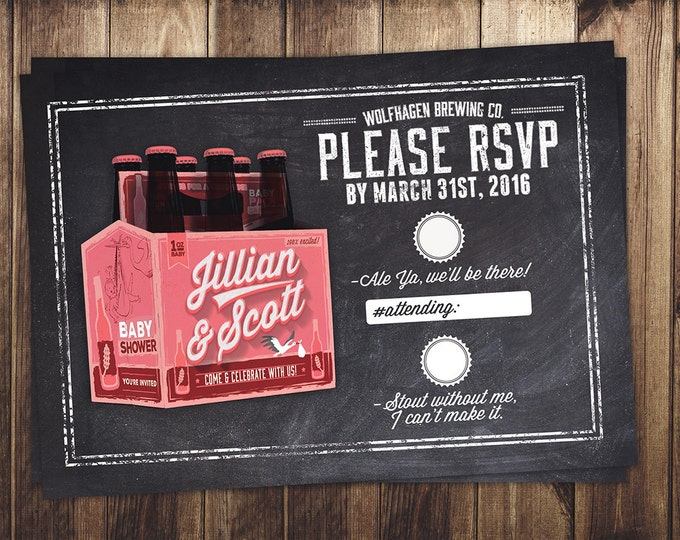 RSVP card, Coed baby shower invitation- Beer baby shower invitation- couples baby shower -  baby is brewing, baby shower, cheers and beers