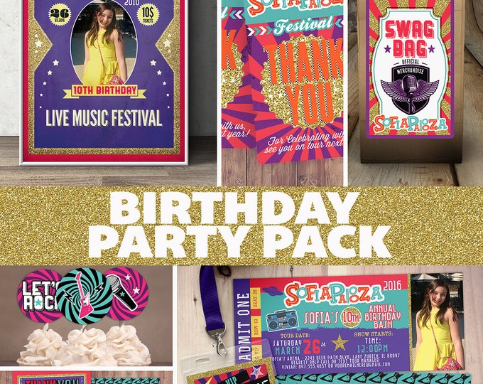 Party pack, party decorations,Birthday Party, rockstar invitation, thank you, party sign, party favor label, cupcake toppers, Digital files