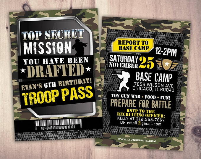 Army Invitation, toy gun invitation, paintball invitation, Army Camo Birthday Invitation, Military Party Boot Camp, Camouflage Invite