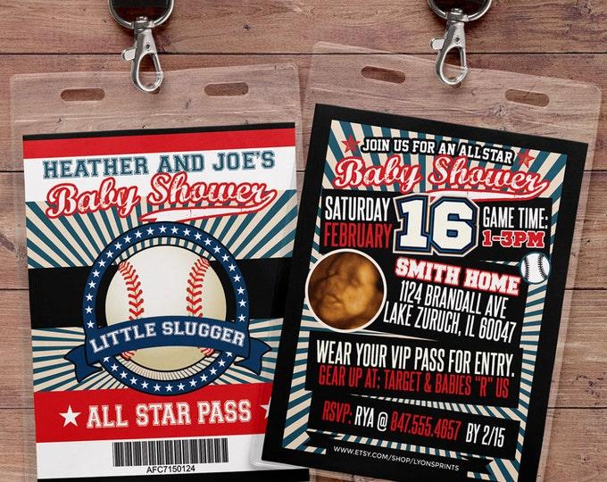 Vintage Baseball Shower Invitation // All Star Little Slugger Baby Shower //  BIRTHDAY invitation, baseball, sports, baseball birthday
