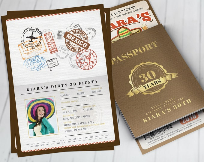 Passport and ticket birthday invitation, travel birthday party invitation, cruise invitation, Mexico, Digital files only